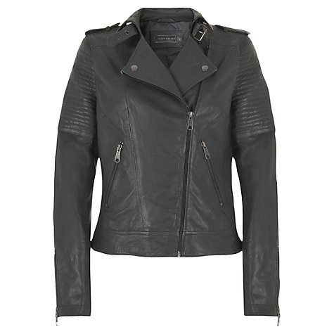 Buy Mint Velvet Zip Detail Leather Biker Jacket Online at johnlewis.com
