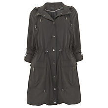 Buy Mint Velvet Drawstring Hooded Parka, Khaki Online at johnlewis.com