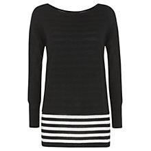 Buy Mint Velvet Striped Layer Knit Top, Black / Ivory Online at johnlewis.com