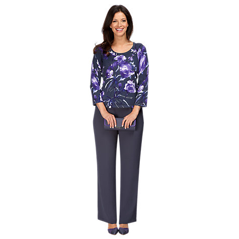 Buy Jacques Vert Floral Print Jumper, Grey/Purple Online at johnlewis.com