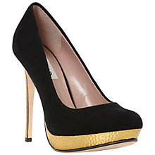 Buy Dune Ammer Suede Metallic Platform Court Shoes, Black Online at johnlewis.com