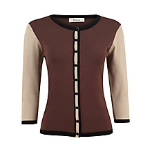 Buy Precis Petite Colourblock Cardigan, Brown Online at johnlewis.com