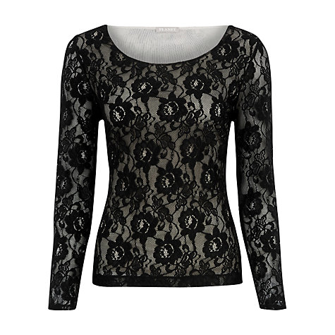 Buy Planet Lace Jersey Top, Black Online at johnlewis.com