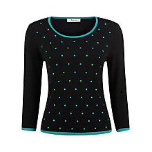 Buy Precis Petite Embroidered Spot Jumper, Black Online at johnlewis.com