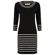 Buy Precis Petite Striped Knitted Dress, Black Online at johnlewis.com
