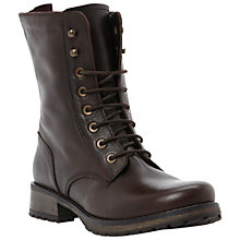 Buy Dune Prop Lace Up Biker Boots, Brown Online at johnlewis.com