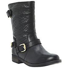 Buy Dune Rottie Snake Print Biker Boots, Black Online at johnlewis.com