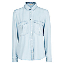 Buy Mango Bleached Tencel Shirt, Light Pastel Blue Online at johnlewis.com