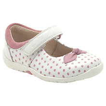 Buy Clarks Softly Dotty Leather Shoes, White/Pink Online at johnlewis.com
