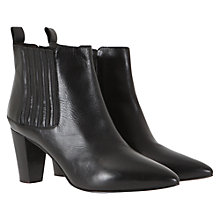 Buy Mint Velvet Pointed Toe Leather Ankle Boots, Black Online at johnlewis.com