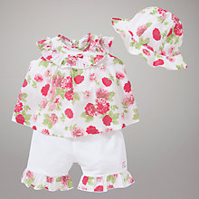 Buy Emile et Rose Cerise Floral Top, Romper & Hat with Plush Toy, Pink/White Online at johnlewis.com