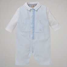Buy Emile et Rose Baby Cedar Stripe Sleepsuit with Plush Toy, Blue Online at johnlewis.com