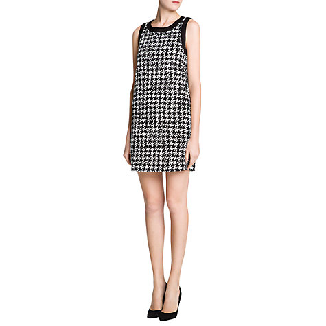 Buy Mango Houndstooth Shift Dress, Black Online at johnlewis.com