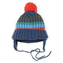 Buy Polarn O. Pyret Striped Bobble Hat, Deep Sea Online at johnlewis.com