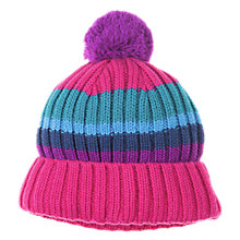 Buy Polarn O. Pyret Striped Bobble Hat, Sangria Online at johnlewis.com