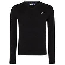 Buy Fred Perry Merino Blend Jumper V-Neck Jumper, Black Online at johnlewis.com