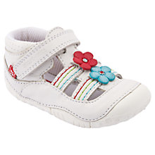 Buy Start-rite Isis Flower Leather Shoes, White/Multi Online at johnlewis.com