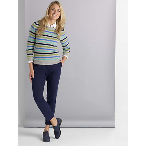 Buy John Lewis Cashmere Stripe Crew Neck Jumper, Blue/Green/ Grey Online at johnlewis.com