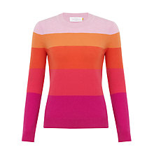Buy Collection WEEKEND by John Lewis Colour Block Stripe Cashmere Crew Neck Jumper, Pink Online at johnlewis.com