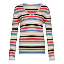 Buy John Lewis Striped Cashmere V-Neck Jumper, Multi Online at johnlewis.com