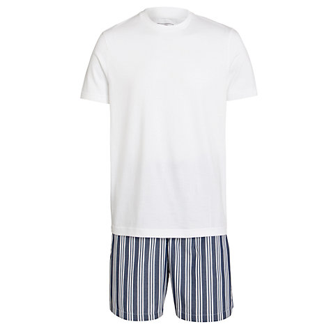 Buy John Lewis Cotton T-Shirt and Striped Short Lounge Set, Navy Online at johnlewis.com