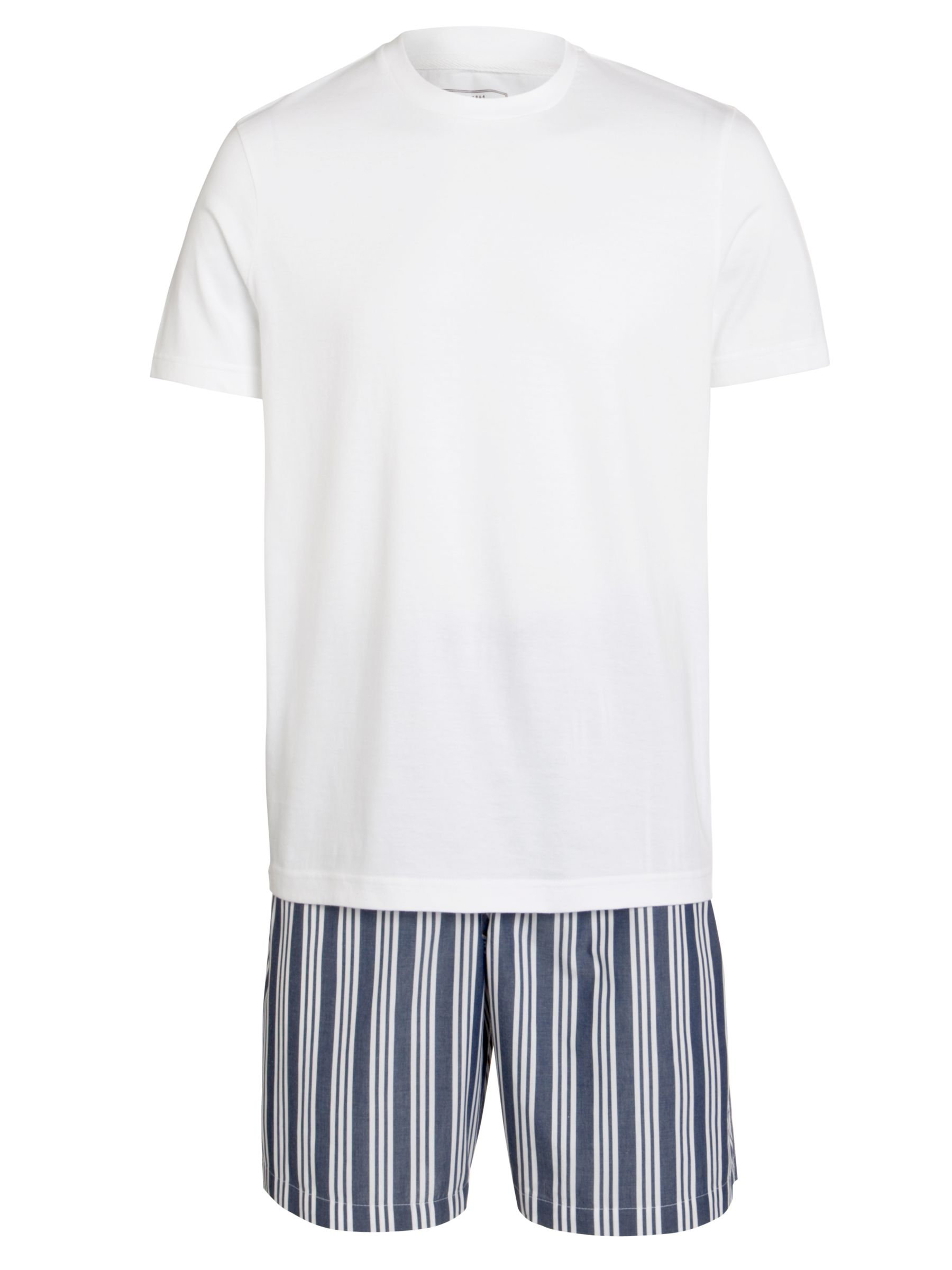 John Lewis Cotton T-Shirt and Striped Short Lounge Set, Navy