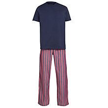 Buy John Lewis Cotton T-Shirt and Striped Trouser Lounge Set, Navy/Red Online at johnlewis.com