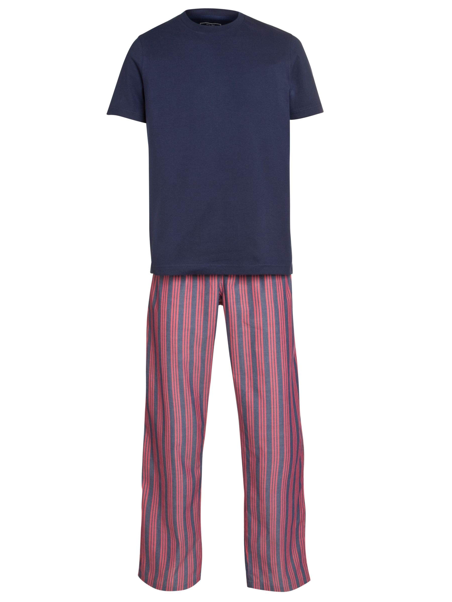 John Lewis Cotton T-Shirt and Striped Trouser Lounge Set, Navy/Red
