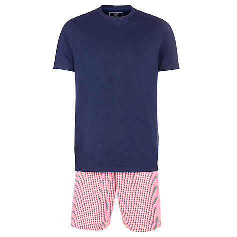 Buy John Lewis Cotton T-Shirt and Gingham Short Lounge Set, Navy/Red Online at johnlewis.com