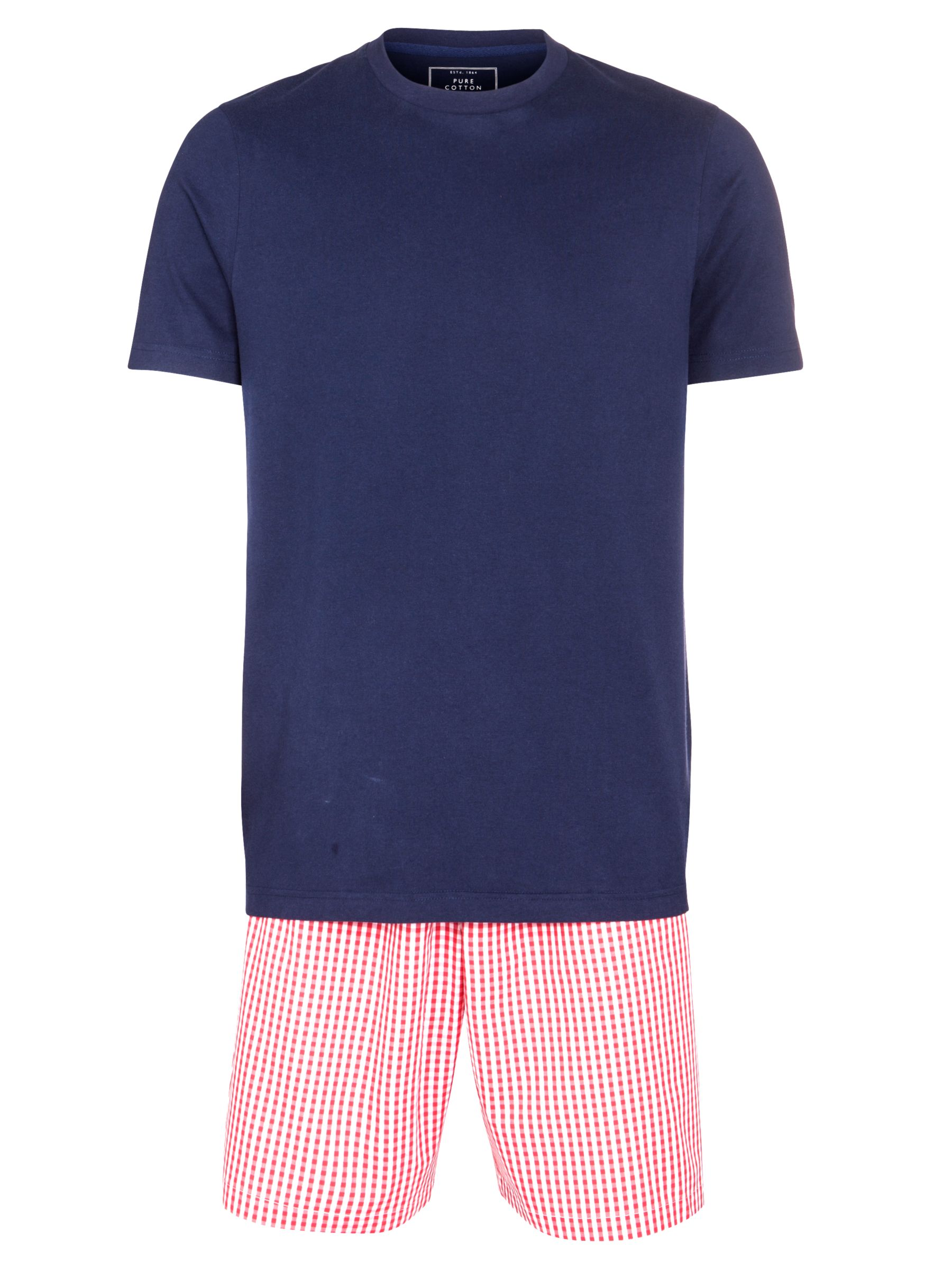 John Lewis Cotton T-Shirt and Gingham Short Lounge Set, Navy/Red