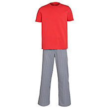 Buy John Lewis Cotton T-Shirt and Gingham Trouser Lounge Set, Red/Navy Online at johnlewis.com