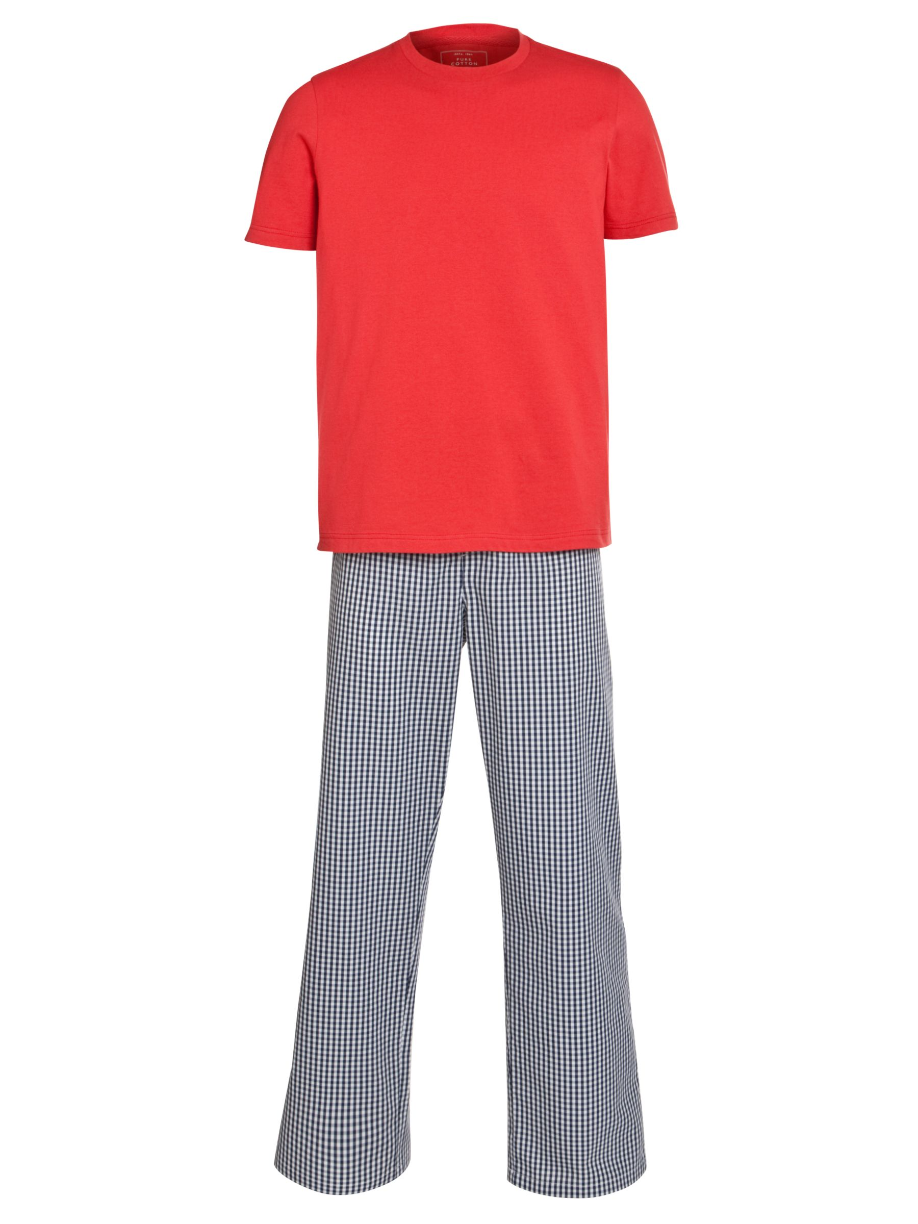 John Lewis Cotton T-Shirt and Gingham Trouser Lounge Set