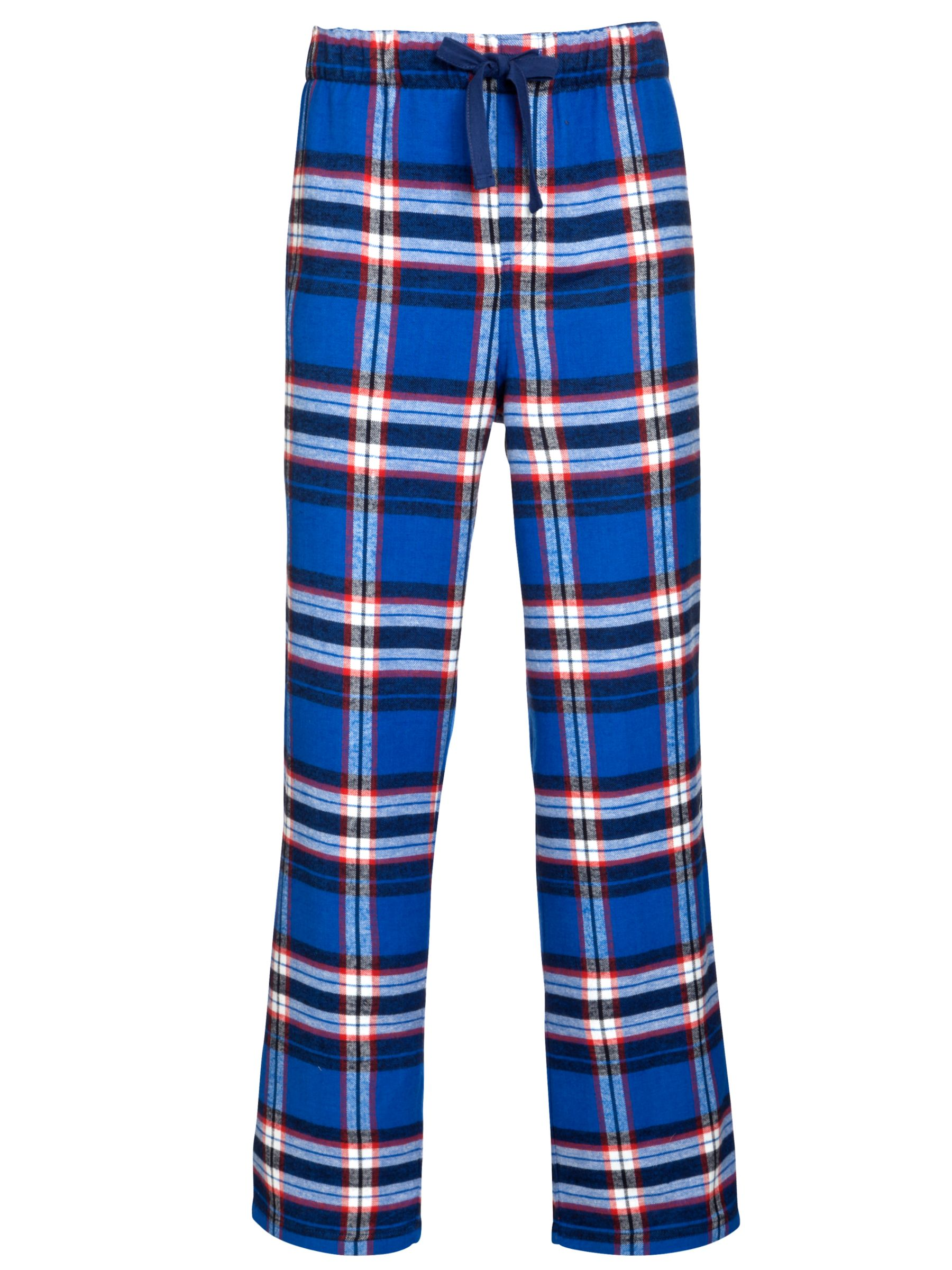 John Lewis Brushed Cotton Check Lounge Pants, Blue
