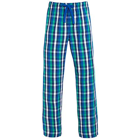 Buy John Lewis Woven Gingham Check Lounge Pants, Blue/Green Online at johnlewis.com