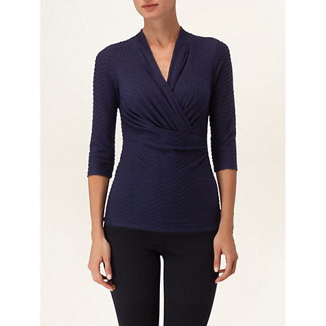 Buy Phase Eight Zig Zag Wrap Top, Indigo Online at johnlewis.com