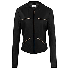 Buy Reiss Opal Collarless Leather Jacket, Black Online at johnlewis.com