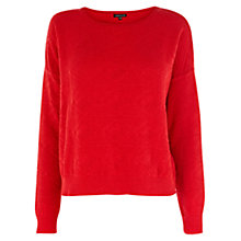 Buy Warehouse Textured Crew Neck Jumper, Bright Red Online at johnlewis.com