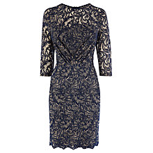 Buy Warehouse Two Tone Lace Dress, Navy Online at johnlewis.com