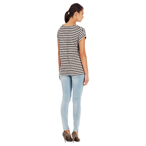 Buy Warehouse Striped V-Neck T-Shirt, Grey Online at johnlewis.com
