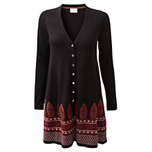 Buy East Flared Jacquard Women's Merino Wool Cardigan, Black Online at johnlewis.com