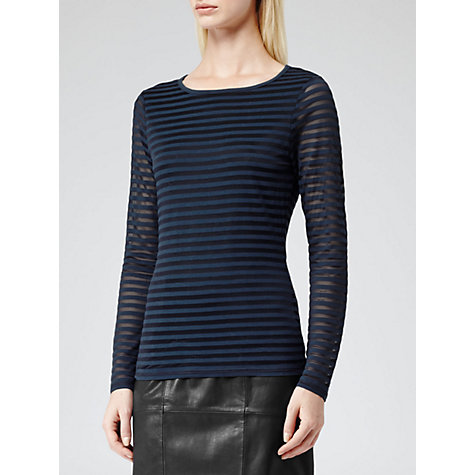 Buy Reiss Betz Sheer Stripe Top, Navy Online at johnlewis.com
