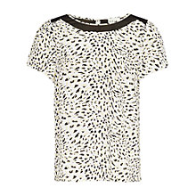 Buy Reiss Hooper Gathered Sleeve Silk Top, Cream Online at johnlewis.com