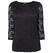Buy Phase Eight Textured Lace Top, Black Online at johnlewis.com