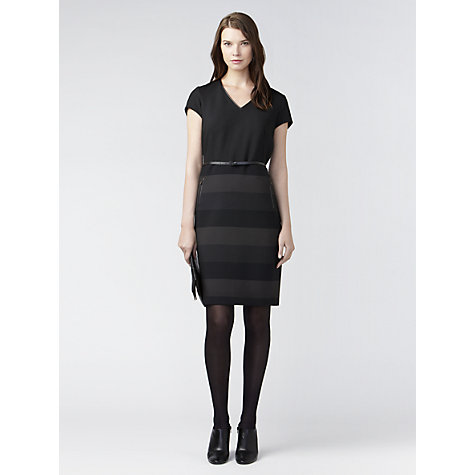 Buy Gérard Darel Striped Belted Dress, Black Online at johnlewis.com