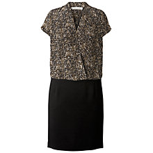 Buy Gérard Darel Silk Geometric Print Two Tone Dress, Khaki Online at johnlewis.com