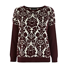 Buy Warehouse Quilted Baroque Sweatshirt, Dark Red Online at johnlewis.com