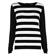 Buy Warehouse Striped Zip Back Jumper, Black / White Online at johnlewis.com