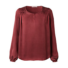 Buy Gérard Darel Pleated Shoulder Blouse, Burgandy Online at johnlewis.com