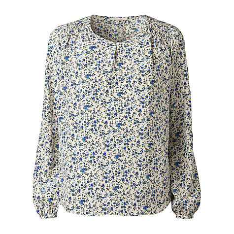 Buy Gérard Darel Silk Flower Print Blouse, Blue Online at johnlewis.com