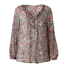 Buy Gérard Darel Silk Decorative Print Blouse, Red Online at johnlewis.com